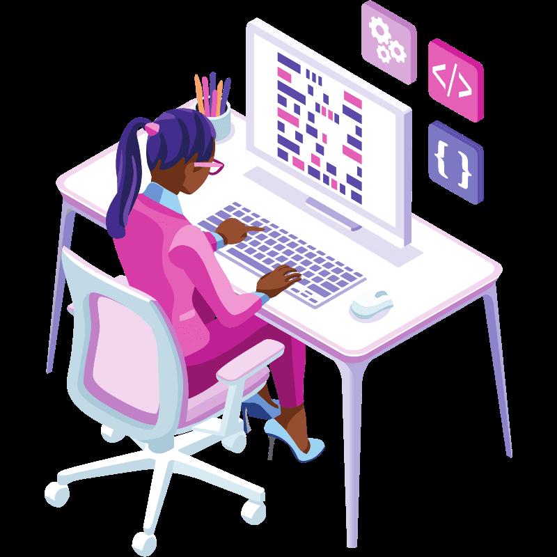 Imagem mostrando uma profissional entregando Inbound Marketing, PPC e Automação de Marketing na Indiga Marketing Digital
